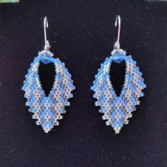 Great with denim Russian Leaf Earrings in blue by BeadAndBowtique