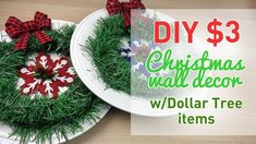 DIY $3 Christmas Wall Decor Using Dollar Tree Items and ... #DiyChristmas #Christmas #DiyChristmasDecorations #DiyChristmasGifts
