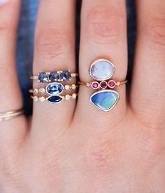 Dream Combination! Opals, Sapphires, Rubies, and Diamonds.
