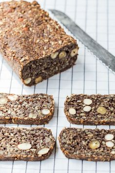 Substitute coconut oil for ghee and maple syrup for honey to make it vegan. Thermomix Seed Bread is the perfect gluten free, vegan breakfast recipe. Healthy Bread Recipes, Low Carb Dinner Recipes, Vegan Breakfast Recipes, Gluten Free Recipes, Cooking Recipes, Easy Recipes, Dessert Recipes, Fudge Recipes, Breakfast Ideas