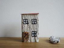 weißes Häuschen Holzhaus aus Treibholz 11 cm