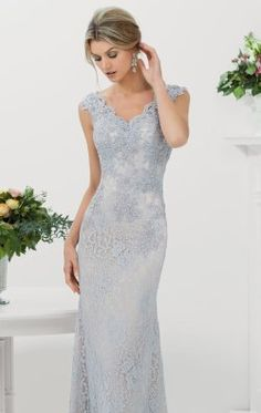 Lovely silver lace beaded gown