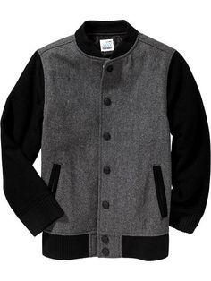 Boys Wool-Blend Baseball Jackets Product Image