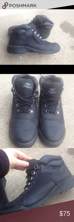 Men's Timberland Black Leather Boots Size 9.5M EUC Men's Timberland Black Leather Boots Size 9.5M EUC Timberland Shoes Boots