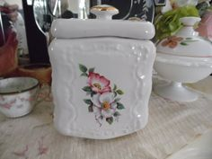 Victorian Style White Ceramic Biscuit Jar with by MadGirlRetro