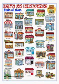 Different shop names in English. Print out this cute graphic chart and turn it…