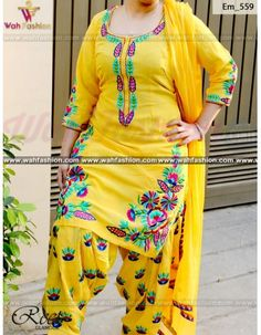 Give yourself a stylish & designer look with this Mesmeric Yellow Full Embroidered Punjabi Suit. Embellished with lace work. Available with matching bottom & dupatta. It will make you noticable in special gathering. You can design this suit in any color combination or on any fabric. Just whatsapp us for more details.  For more details whatsapp us: +919915178418 @khanilma869 @calijatti510 @parmkaur4433 @pavanigeethika @s
