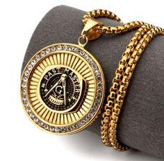 Past Master Mason Gold Necklace - Free Shipping!