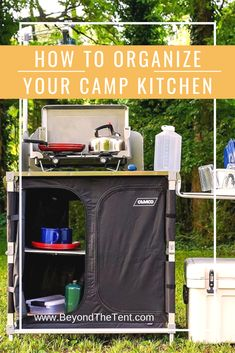 HOW TO BEST ORGANIZE YOUR CAMP KITCHEN Beyond The Tent offers you Easy Steps On Organizing Your Camping Kitchen! Forget big totes that are hard to move around and organize. Use these organizing ideas for easier packing and yummy cooking! Logo Camping, Camping Diy, Camping Photo, Camping Style, Camping Games, Winter Camping, Beach Camping, Camping Checklist, Camping Essentials