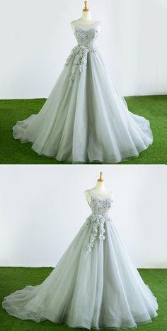 Gray tulle court train winter formal prom dress, halter 3D flower evening dress