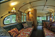 Found abandoned in a Maine farm field, architect Will Winkelman, with help from a team of designers and mechanics, fully restored this 1959 Chevy Viking Bus... in a very hippie style