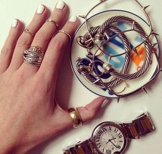 Cartier Watch, David Yurman Rings & Bracelets | Blair Eadie