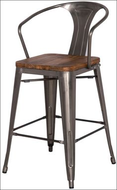Bon Metropolis Metal Bar Stool Wood Seat, Gunmetal