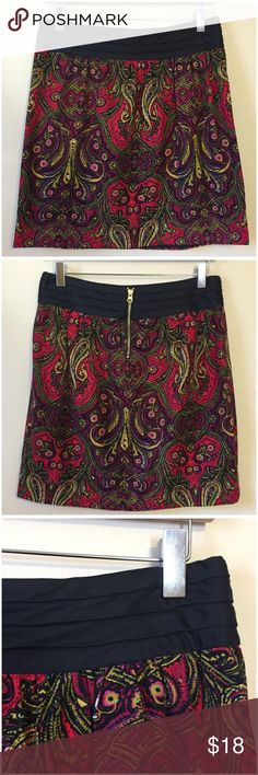 Anthropologie Red Paisley Corduroy Skirt by Cidra Anthropologie Red Paisley Print Corduroy Mini Skirt by Cidra  • Size 6 • Paisley design with beautiful color palette of red, green, black, yellow, and magenta purple • 15.5 inch waist, measured flat • 18 inch length  • Pleated waistband • Back zipper with interior button closure • 100%  cotton, online • Very good condition, no signs of wear, or imperfections Anthropologie Skirts