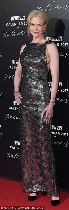 Sparkling sensation: Nicole Kidman was leading the glamour at the Pirelli's 2017 calendar gala dinner in Paris on Tuesday night to mark the release of the iconic collection of images