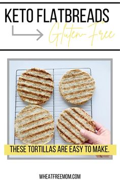 These gluten-free and keto flatbreads are soft and flexible and the perfect low carb bread option. Easy to make and requires no yeast or rising time. I like to use them as wraps for sandwiches, as a base for pizzas or for soft tacos. Gluten Free Tacos, Gluten Free Recipes, Low Carb Recipes, Keto Flatbread Recipe, Gluten Free Flatbread, Keto Tortillas, Soft Tacos, Food Words, Low Carb Bread