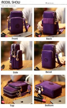 Three-Layer Storage Zipper Waterproof Shoulder Bag Wrist bag For iPhone 7 Plus Inch Sale Leather Bag Tutorial, Leather Wallet Pattern, Purse Tutorial, Patchwork Bags, Quilted Bag, Bag Patterns To Sew, Pattern Sewing, Tote Pattern, Galaxy S8
