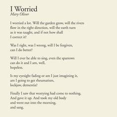 I Worried - Mary Oliver