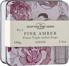 Pink Amber 100 g / Oz. Soap In A Tin from SCOTTISH FINE SOAPS. Presented in a chic Vintage Bird Print design, this tin makes an elegant, feminine gifts. Contains a triple milled 100 g soap in a beautiful fragrance with an exotic twist. Vintage Birds, Vintage Pink, Vintage Flowers, Soap Packaging, Packaging Design, Luxury Soap, Soap Company, Body Cleanser, Practical Gifts
