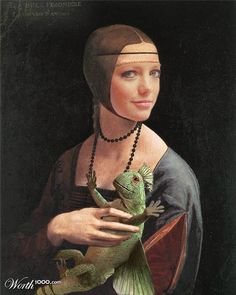 """DaVinci's """"Lady with an Ermine"""" is now """"Lady with a Prehistoric Flying Lizard"""" thanks to models Hannah Spearitt and Rex (from the British TV show """"PRIMEVAL"""")."""