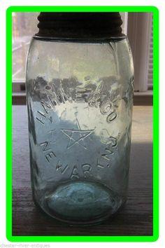 RARE OLD HAHNE & CO NEWARK. N.J. MASON'S PATENT 1858 QT QUART CANNING FRUIT JAR
