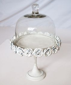 Take a look at this White Metallic Cake Stand & Glass Dome on zulily today!