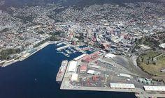 Met de heli boven Hobart Tasmania