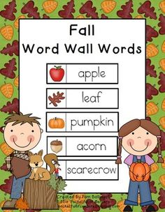 FREE Fall Word Wall Words.  Great for a pocket chart or your word wall.  Nice visual to build vocabulary.