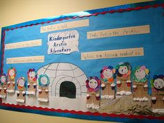 """""""Arctic Adventure"""" is a """"cool"""" title for a winter bulletin board display that includes an igloo and children creating characters bundled warm in winter clothes. I would add having my students write their own Arctic adventure stories to this display idea. Kindergarten Bulletin Boards, Teacher Bulletin Boards, Winter Bulletin Boards, Bulletin Board Display, In Kindergarten, Classroom Ideas, Winter Fun, Winter Theme, Winter Craft"""