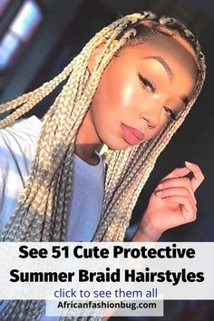see 51 cute protective summer braid hairstyles for black women. #braidedhairstyles #protectivesummerbraids Braided Hairstyles For Black Women, Braids For Black Women, Organic Makeup, Organic Beauty, Summer Hairstyles, Braid Hairstyles, Natural Beauty Remedies, Summer Braids, Natural Cosmetics
