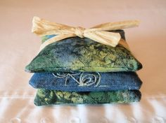 HANDMADE Lavender Sachets Embroidered Denim & Tie Dye