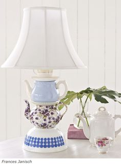Make a stacked china lamp with tips and tricks in tutorial and 45 BEST Shabby Lifestyle Decor & Accessory DIY Tutorials EVER!! From MrsPollyRogers.com