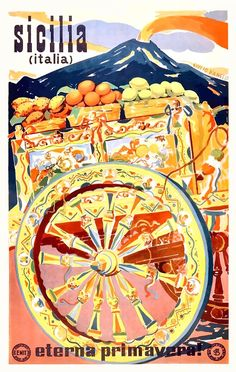 Sicilia Italia Vintage Travel Poster, 1947 - Poster Print, Sticker or Canvas Print / Gift Idea / Wall Art Vintage Italian Posters, Vintage Travel Posters, Vintage Postcards, Vintage Ads, Italia Vintage, Vintage Italy, Retro Poster, Photo Vintage, Original Vintage