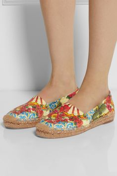 cd9eaa1cbf07 Dolce   Gabbana Printed Brocade Espadrilles in Multicolor (Yellow)