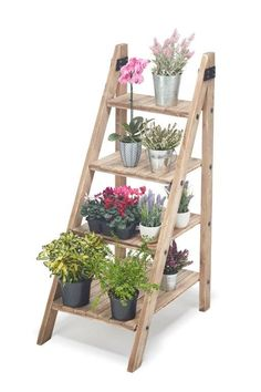 This A-Frame, 4 tier retail shelving unit has a very attractive free standing design. The various sized open shelves create a unique way to display… Diy Wood Shelves, Plant Shelves, House Plants Decor, Plant Decor, Decoration Shabby, Wooden Plant Stands, Retail Shelving, Frame Display, Wooden Display Stand
