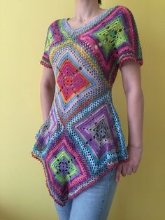 This is my Boho style summer crochet tunic . It is crocheted from fine cotton yarn with silk effect . Measurements : - 30 / 76 cm / - from the bottom of the  V  neck opening to the lowest point on the tunic - 31 / 79 cm / - waist Wash by hands , flat dry and do not iron . This item is shipped from Crochet Tunic, Hand Crochet, Crochet Hot Pads, Boho Fashion Summer, Crochet Dishcloths, Slouchy Hat, Brim Hat, Short Sleeve Dresses, Cotton