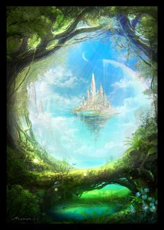 Fantasy Art Landscapes, Fantasy Paintings, Fantasy Landscape, Fantasy Artwork, Landscape Art, Fantasy City, Fantasy Castle, Fantasy Places, Fantasy World