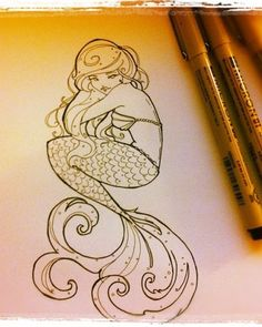 Mermaid Tattoo by Shimakotodo. i dont know if i should let people know what my s… Mermaid Tattoo by Shimakotodo. i dont know if i should let people know what my super power is though. Mermaid Outline, Mermaid Art, Mermaid Sketch, Mermaid Quilt, Mermaid Tattoo Designs, Mermaid Tattoos, Zentangle, Dr Tattoo, Lion Tattoo