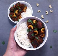Crispy spiced tofu and cashews coated in a sticky red coconut curry. A delicious and quick Thai & Indian inspired vegan, gluten-free meal!