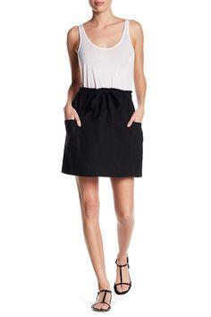 Linen Blend Drawstring Skirt (Regular & Petite)