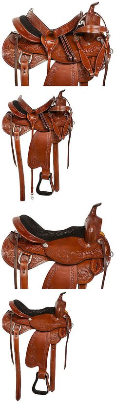 Saddles 47291: 14 15 16 17 18 Almond Tooled Leather Western Pleasure Trail Horse Saddle Tack -> BUY IT NOW ONLY: $299.99 on eBay!