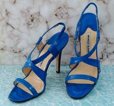 57680b8e07a4 MANOLO BLAHNIK 36.5 Pool Blue Patent Leather Crossover Slingback Sandals 6   ManoloBlahnik  Sandals Manolo