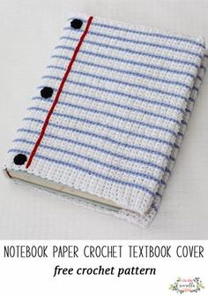 Crochet this easy text book cover that looks like notebook paper! Free crochet pattern for school Design Ttribe Apparel Crochet Book Cover, Crochet Phone Cover, Crochet Books, Crochet Home, Crochet Gifts, Free Crochet, Crochet Things, Easy Crochet, Crochet Mobile