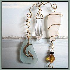 Sea Glass and Crystal Chandelier Prism Eye Catcher | PattyAnn - Metal Craft on ArtFire