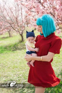 Mother And Son Make A Great Bulma And Baby Trunks From Dragon Ball Z - never watched it but props for being a cool mom