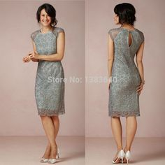 Wholesale cheap mother's dresses online, 2015 spring summer - Find best 2015 hot sale mother Of the bride dresses knee-Length attire lace crew sheath short modest teal cocktail/Prom/Celebrity/Evening dresses at discount prices from Chinese mother's dresse Evening Gowns With Sleeves, Evening Party Gowns, Formal Evening Dresses, Formal Gowns, Formal Wear, Casual Wear, Modest Dresses, Cheap Dresses, Short Dresses