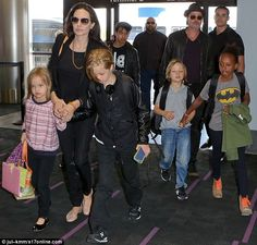 Angelina Jolie and Brad Pitt walk through LAX with children as a family | Daily Mail Online