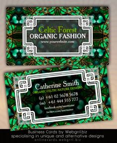 Organic Forest Green Gold Celtic Business Cards by webgrrl / onlinecards #template #customizable