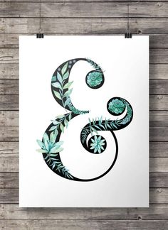 Watercolor floral ampersand - blue turquoise aqua flowers and succulents - Printable wall art - Instant download  Buy 2 get 1 free coupon code: