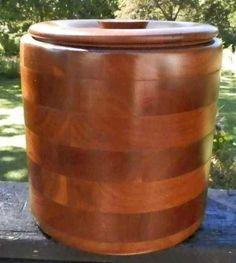 Vintage Solid Black Walnut Wooden Ice Bucket Kustom Kraft Mid Century Modern